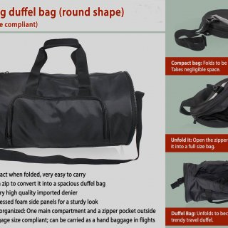 Personalized Folding Duffel Bag (Round Shape)
