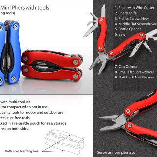 Personalized Folding Mini Pliers With 9 Tools (Superior Quality)