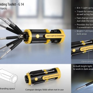 Personalized folding tool kit with 7 led torch