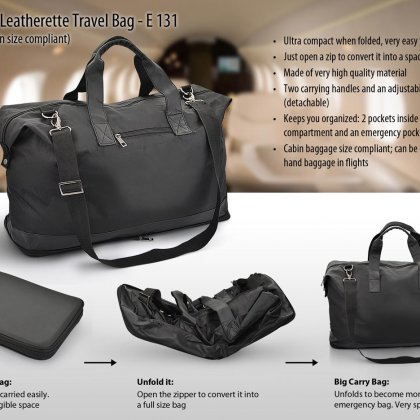 Personalized folding travel bag (leatherette) (flight cabin size compliant)
