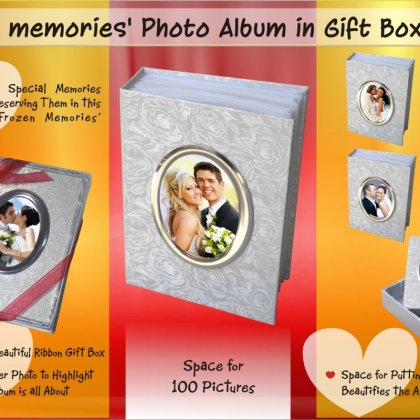 """Personalized frozen memories' photo album in ribbon gift box (100 pictures) (5"""" x 7"""")"""