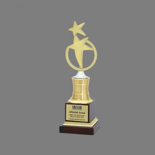Personalized Gibb Two Star Award Star Trophy