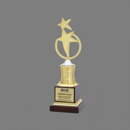 Personalized Gibb Two Star Award Star Trophy