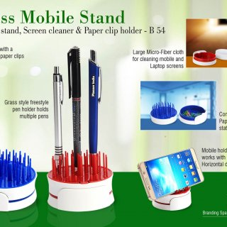 Personalized grass mobile stand with pen stand, screen cleaner & paper clip holder