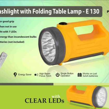 Personalized handy flashlight with folding table lamp