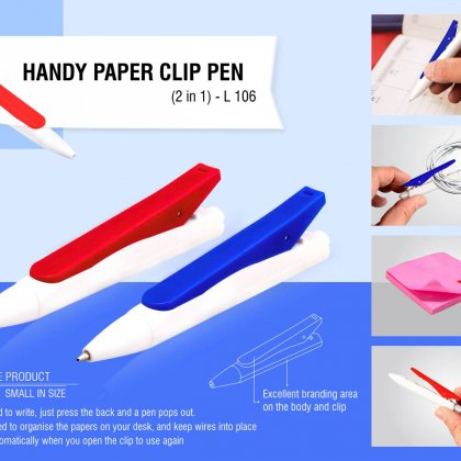 Personalized handy paper clip pen (2 in 1)