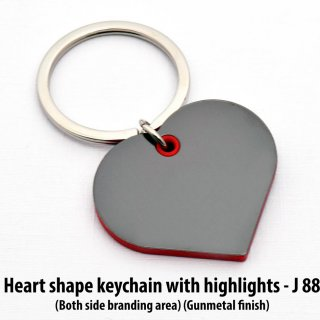 Personalized heart shape keychain with highlights