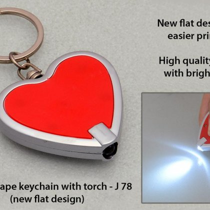 Personalized heart shape keychain with torch (flat design)