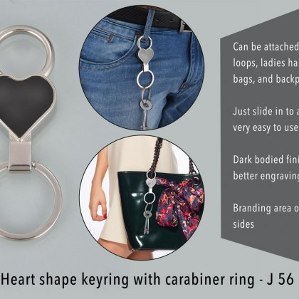 Personalized heart shape keyring with carabiner ring