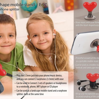 Personalized heart shape vacuum mobile stand with earphone splitter