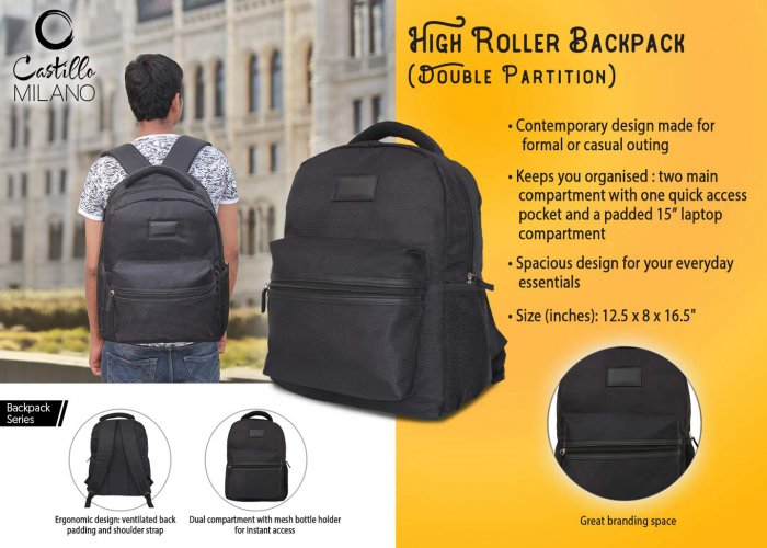 Personalized High Roller Backpack - Double Partition