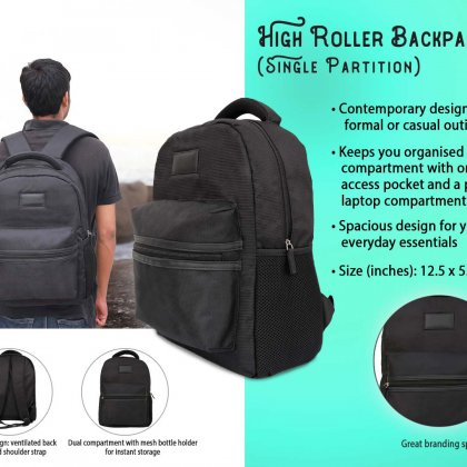 Personalized High Roller Backpack - Single Partition