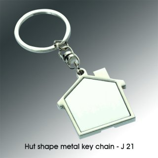 Personalized hut shape metal keychain