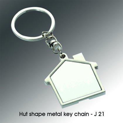 Personalized hut shape metal keychain
