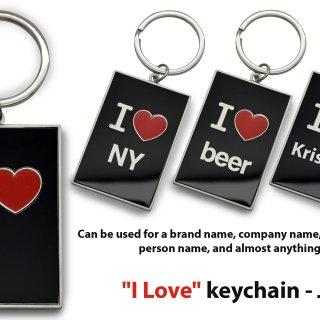 "Personalized ""i love"" keychain (gunmetal finish)"