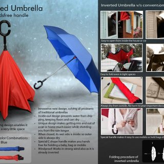 Personalized Inverted Umbrella With Handsfree Handle