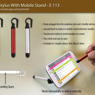 Personalized jack stylus with mobile stand