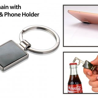 Personalized Key Style Keychain With Bottle Opener And Phone Holder