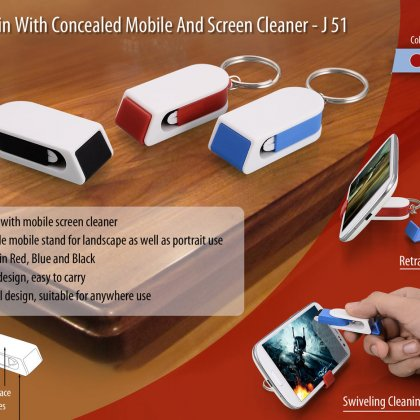 Personalized keychain with concealed mobile stand and screen cleaner