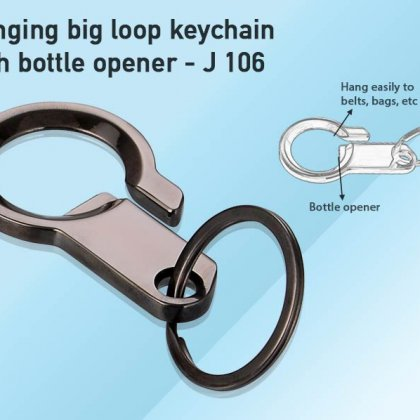 Personalized keychain with hanging big loop
