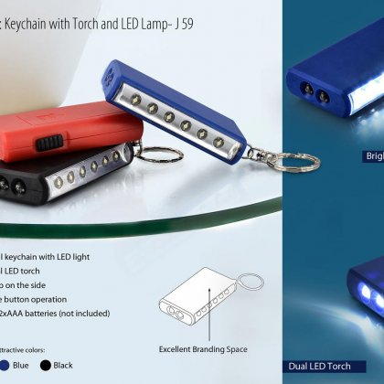 Personalized keychain with torch and 6 led lamp