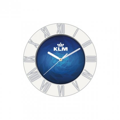 "Personalized Klm Chrome Plated Wall Clock (7"" Dia)"