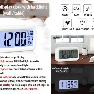 Personalized Large Display Clock With Backlight (Wall / Table)