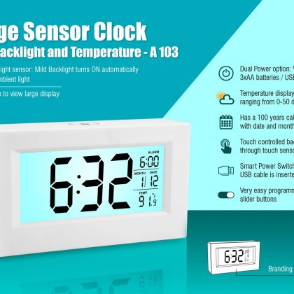 Personalized large sensor clock with backlight and temperature