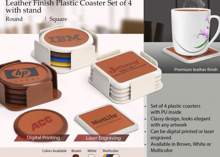 Personalized Leather Finish Plastic Coaster Set Of 4 With Stand (Round)