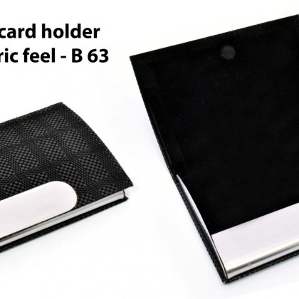 Personalized leatherette card holder with soft fabric feel