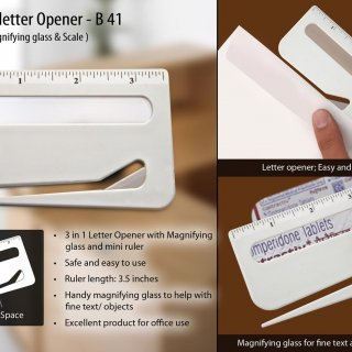 Personalized letter opener with magnifier & ruler
