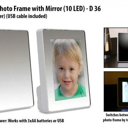 Personalized magic photo frame with mirror (10 led) (dual power) (usb cable included)