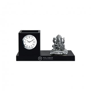 "Personalized Malabar Gold Colour Printing Table Clock (0.5""X3"")"