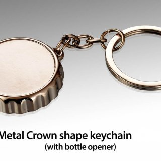 Personalized Metal Crown Shape Keychain With Bottle Opener
