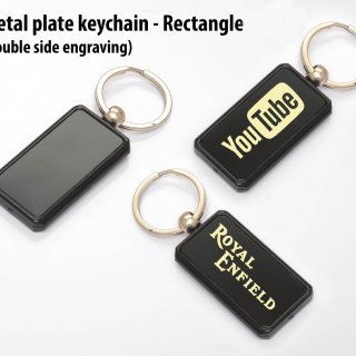 Personalized Metal Plate Keychain - Rectangle (Double Side Engraving)