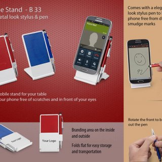 Personalized mobile stand with metal look stylus & pen