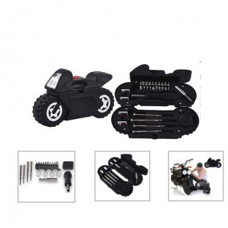 Personalized Motorcycle Tool Kit (With Built In Torch) (T R V L G E A R - Mobike) / Black