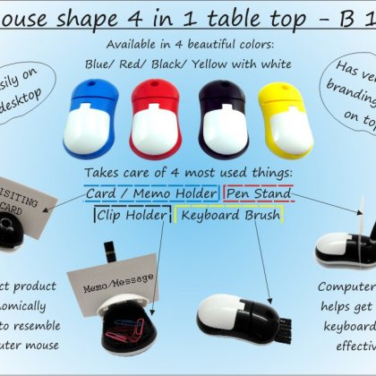 Personalized mouse shape 4 in 1 table top (with pen holder, memo holder, paper clip holder & keyboard cleaning brush)