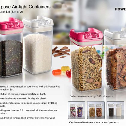 Personalized Multipurpose Air-Tight Containers With Easy Lock Lid (Set Of 2)