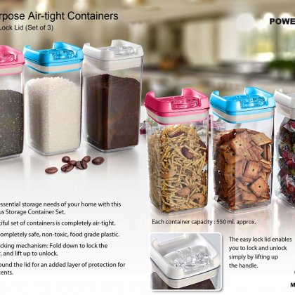 Personalized Multipurpose Air-Tight Containers With Easy Lock Lid (Set Of 3)