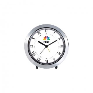 """Personalized Nbc Chrome Plated Table Clock (4"""" Dia)"""