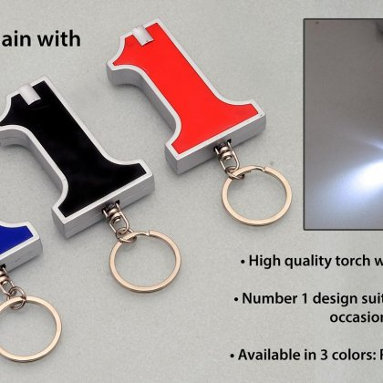 Personalized no. 1 keychain with torch