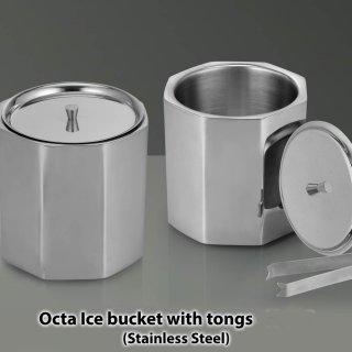 Personalized Octa Ss Ice Bucket With Tongs