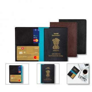 Personalized Passport Cover (T R V L G E A R - Fairfax) / Black, Brown