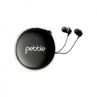 Personalized Pebble Handsfree Earphones With Travel Case (Chord Pro Black)