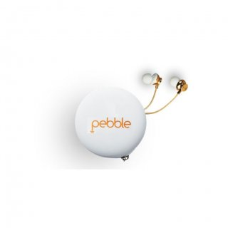 Personalized Pebble Handsfree Earphones With Travel Case (Chord Pro Gold)