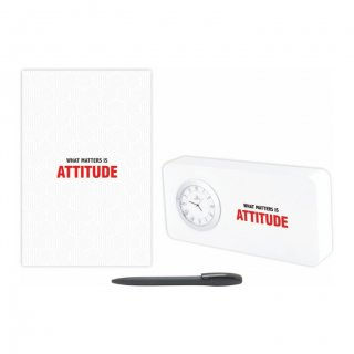 Personalized Attitude Gift Set Of Three (Table Clock Softcover Notebook & Pen)