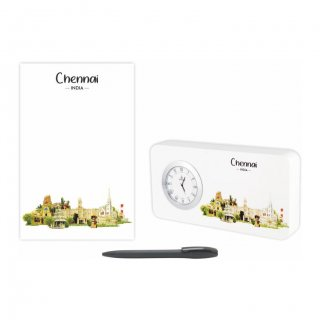 Personalized Chennai Gift Set Of Three (Table Clock Softcover Notebook & Pen)