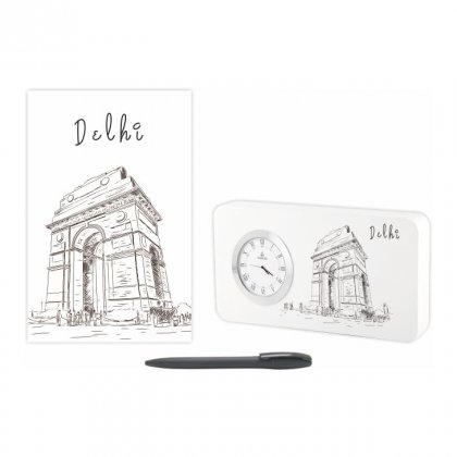 Personalized Delhi Gift Set Of Three (Table Clock Softcover Notebook & Pen)