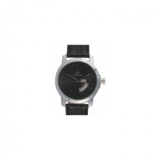 Personalized Dome Black Metal Dial Day-Date Wrist Watch